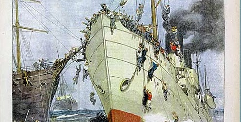 """Prima pagina de """"La Domenica del Corriere"""" sul naufragio della nave Sirio"""